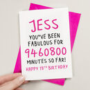Pink happy birthday in minutes card