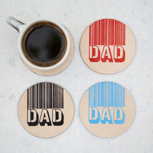 I Love You Dad Round Leather Coaster