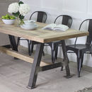 A Game Reclaimed Wood Dining Table With Steel A Frame
