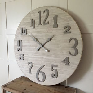 Large Round Coastal Whitewashed Cream Wood Clock - clocks