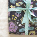 midnight floral wrapping paper by inkpaintpaper