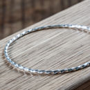 Sterling Silver Skinny Twisted Stacking Bangle