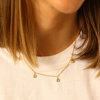 Mixed Gemstone Drop Necklace In 18 Ct Gold Vermeil