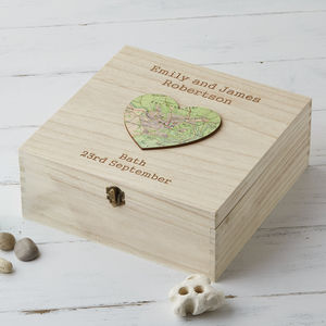 Engraved Map Heart Location Wedding Keepsake Box