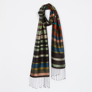 Handwoven Contemporary Stripe Silk Scarf - mens