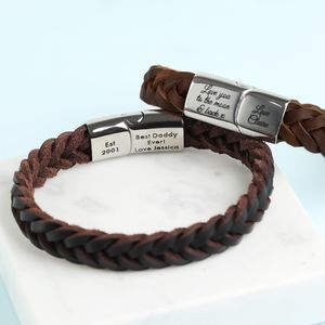 Personalised Men's Thick Brown Woven Leather Bracelet - bracelets