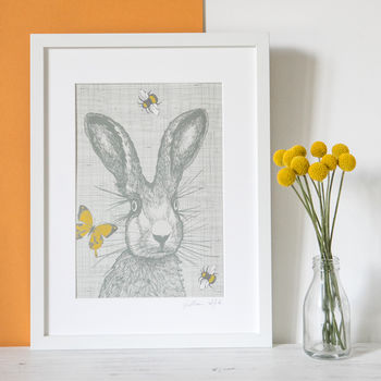 Illustrated Hare print