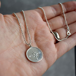 Sterling Silver Compass Necklace - necklaces