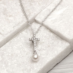 Personalised Sterling Silver And Pearl Cross Necklace - necklaces & pendants