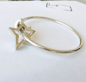 Star And Moon Silver Midnight Bangle - bracelets & bangles