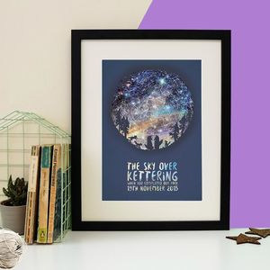Family Of Wolves Personalised Star Map Print - posters & prints