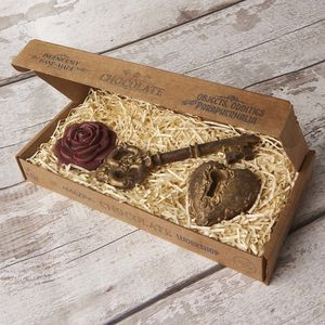 Chocolate Heart Lock, Medieval Key And Rose Gift Box