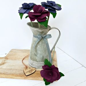 Leather 3rd Anniversary Flowers In Vintage Zinc Jug