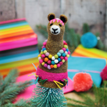 Colourful Llama Egg Cosy And Tree Topper