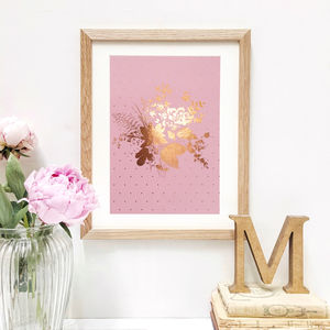 Rose Gold Floral Print With Polka Dots
