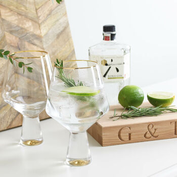 Gold Gin Glasses And Board Gift Set