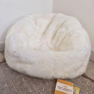 Luxury Long Hair Sheepskin Beanbag - living room