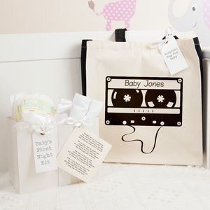 Personalised Cassette Hospital Bag And First Night Kit