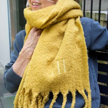 Personalised Embroidered Initials Oversized Scarf