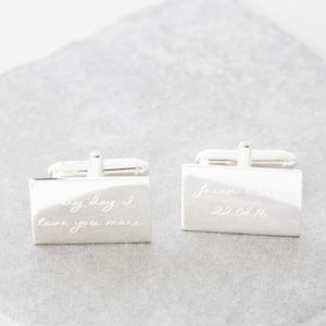 Personalised Engraved Message Silver Cufflinks - men's jewellery