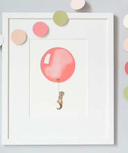 Personalised Coral Balloon Nursery Print