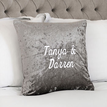 Personalised Crushed Velvet Embroidered Cushion