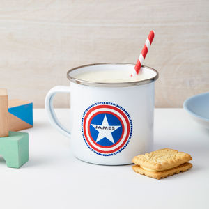 Boys Personalised Superhero Enamel Mug