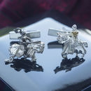 Gold And Silver Knights Cufflinks
