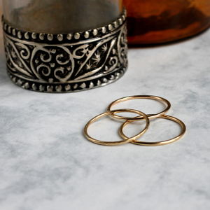 Skinny Stacking Ring Set Gold Fill - rings
