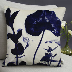 Cyanotype Botanical Stems Print Cushion