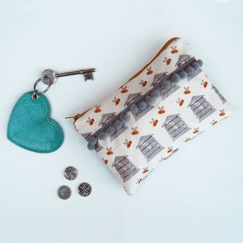 Beehive Purse With Grey Pom Poms