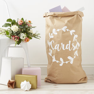 Personalised Wreath Wedding Card Sack
