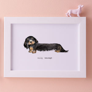 Silly Sausage Dog Illustration Print