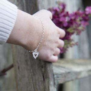 Silver Textured Double Heart Bracelet