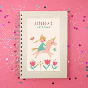 Personalised Unicorn And Princess Notebook - writing