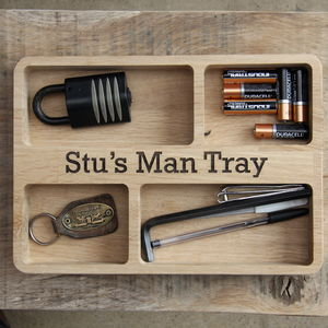 Personalised Oak Organiser Tray - gifts for him