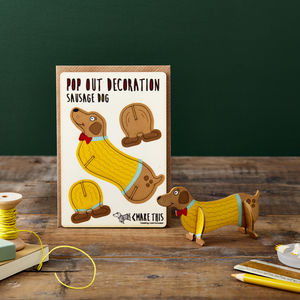 Pop Out Sausage Dog Greeting Card - birthday cards