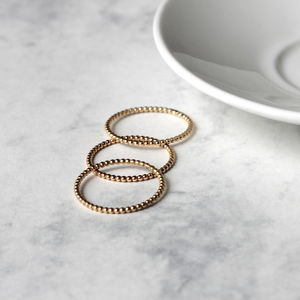 Dotted Stacking Ring Set Gold Fill