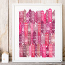 Edinburgh Cityscape Art Print In Pinks