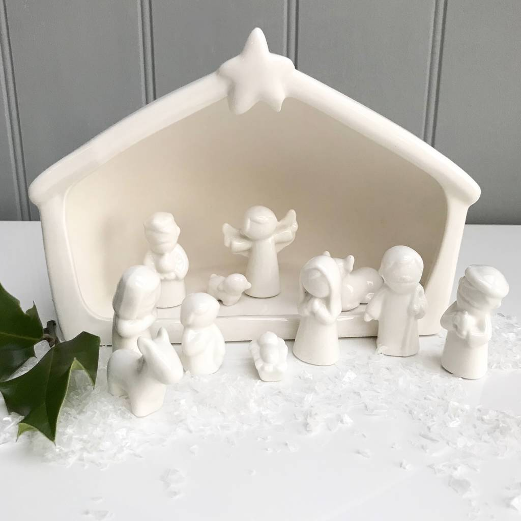 White Ceramic Nativity Scene