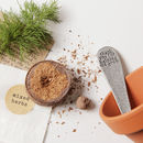 Plant pot, plant marker, compost and seed ball