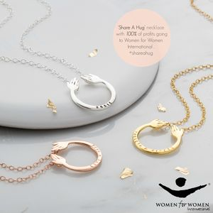 Personalised 9ct Gold Share A Hug Necklace - gifts for sisters