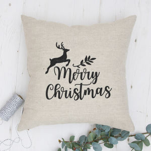 Merry Christmas Embroidered Cushion - christmas decorations
