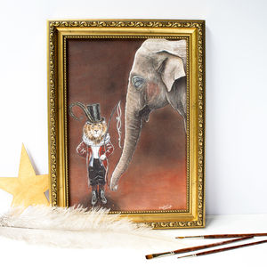 Artwork Print Of A Lion Circus Master And His Elephant - drawings & illustrations