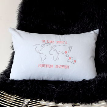 Personalised Honeymoon Adventure Cushion