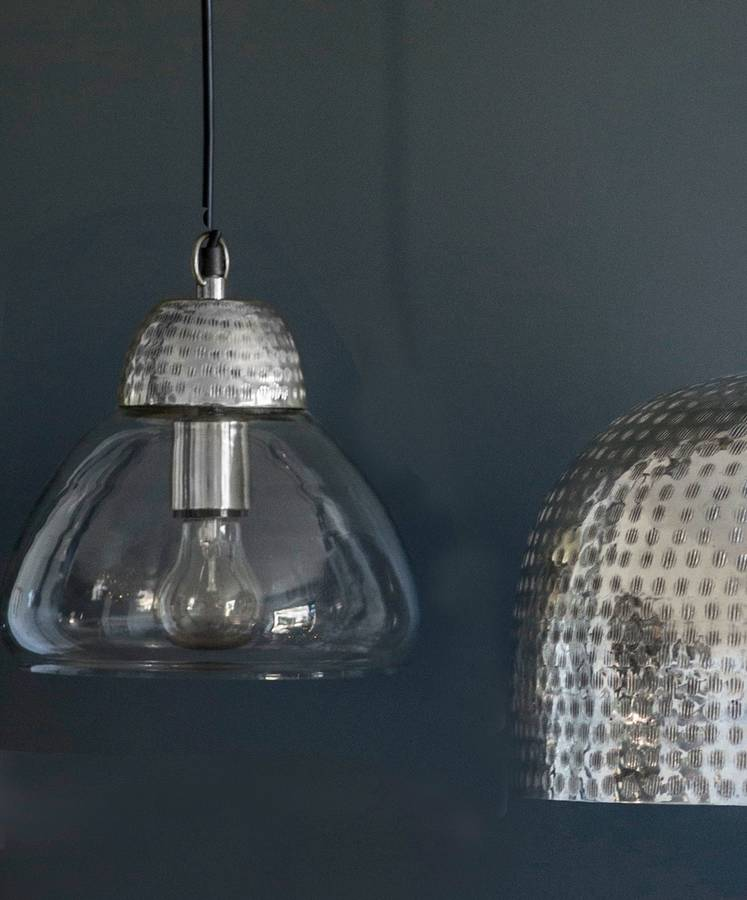 Etched metal and glass pendant lights