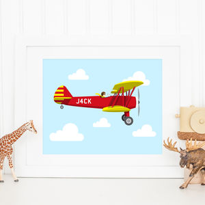 Personalised Child's Plane And Name Illustration Print