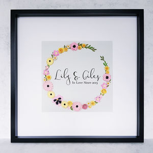 Personalised Couple Framed Floral Artwork - typography