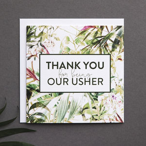 'Thank You For Being Our Usher' Card - best man & usher cards