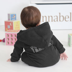 Personalised Hooded Jersey Onesie Black - gifts for babies